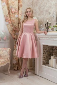 PL-1002 Платье атласное, рельефы