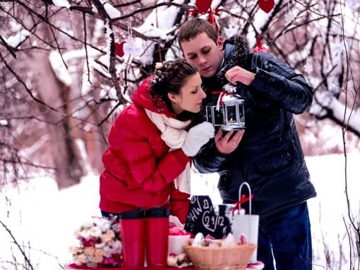 зимняя свадебная прогулка