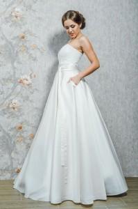 PL-1627 Атласное платье, кружево, карманы